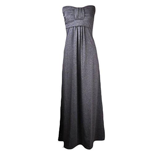 Janisramone Damen Plus Größe Bogen Knoten Krawatte trägerlosen Maxi-Kleid Größe 8-26 Schwarz - Dunkelgrau