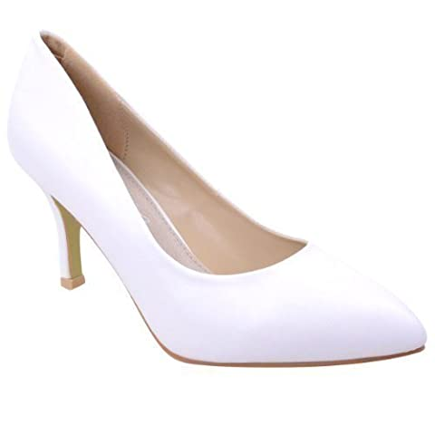 WOMENS LADIES LOW MID HIGH KITTEN HEEL PUMPS POINTED TOE WORK COURT SHOES SIZE (UK 8 / EU 41 / US 10, White