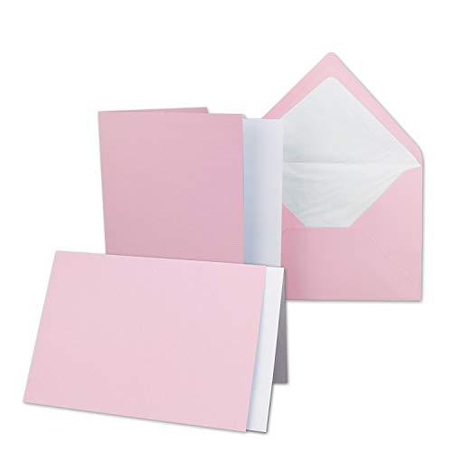 25x Karten-Set DIN B6-12 x 17 cm - 120 x 170 mm - Falt-Karten mit Brief-Umschlägen & Einlege-Blätter - Gerippte Struktur Oberfläche - Rosa - Vintage Einladungskarten