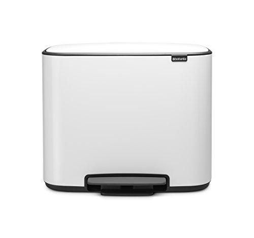 Brabantia Bo Pedal - Cubo de basura, Acero Inoxidable, 2 cubos interiores , Blanco, 11 + 23 litros