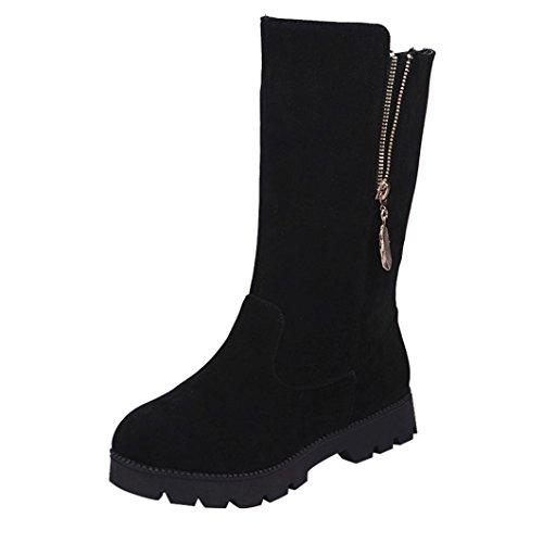 Botas de mujer Zapatos de mujer Señoras Invierno Calentar Hebilla Faux Calentar Plano Casual Botas de caballero Botines Martín Zapatos LMMVP (44, Negro)