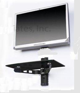 Mount World 1049D Wandhalterung für LCD- / LED- / VESA 200 x 200/200 x 100 (mit 1 Ablage für DVD, VCR, Kabelbox, DDS-Receiver, Spielkonsole, blaues Strahlen -