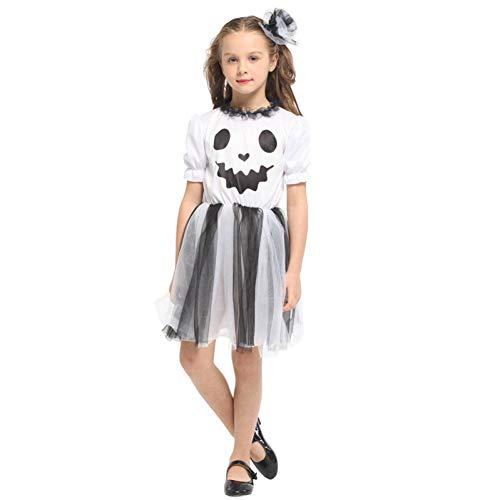 SHOPZZ Halloween Kostüm Mädchen Weiß Ghost Scary Cosplay Kinder Kinder Halloween Hölle Teufel Unhold Kostüm Bühnenspiel Maskerade Party Kleid, - Ghost Piraten Kostüm Kind