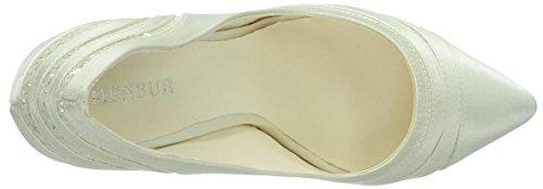 Menbur Wedding Tatiana, Chaussures à talons - Avant du pieds couvert femme Blanc - Elfenbein (Ivory 04)