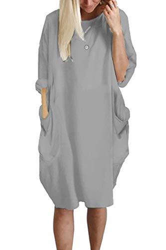 YACUN Damen Loslassen Kleid Kausal 3/4 Ärmel Hals Midi Kleid Mit Taschen Pullover Grau S -