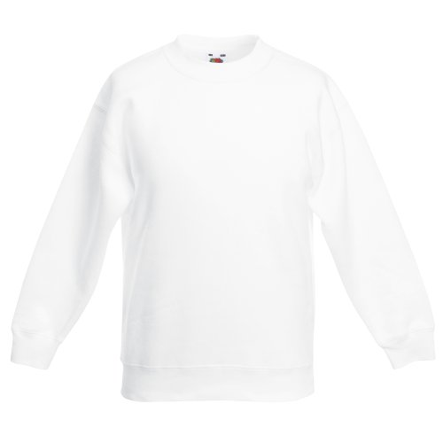 Fruit Of The Loom Kids Unisex Classic 80/20 Set-In Sweatshirt (34) (White)