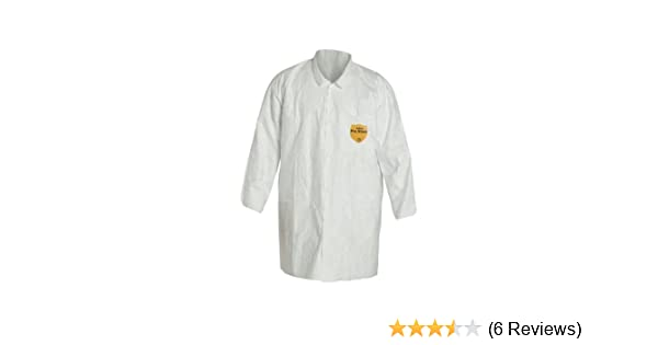 White 2X-Large TY212SWH2X0008G1 Pack of 8 DuPont Tyvek 400 TY212S Disposable Lab Coat with Open Cuff