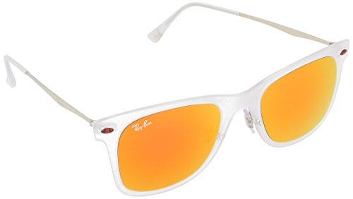 Ray-Ban Unisex Sonnenbrille Wayfarer Light Ray Mehrfarbig (Gestell: transparent matt, Gläser: braun verspiegelt orange 646/6Q) Medium (Herstellergröße: 50)