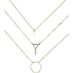 Collar Geométrico a Capas en Oro   3 Collares con Colgantes Libres de Níquel