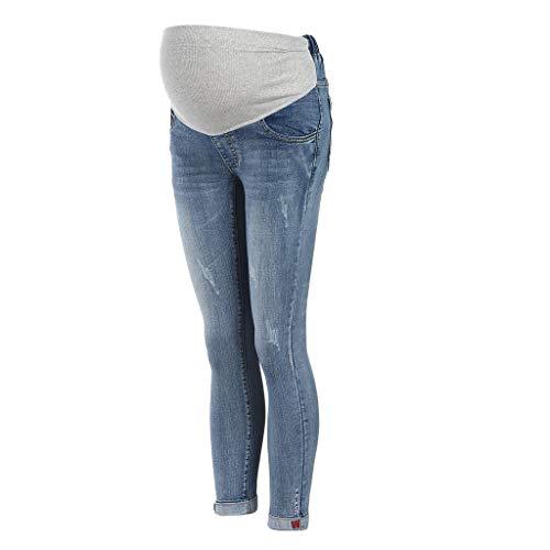 STRIR Mujeres Embarazadas Nuevo Otoño Invierno Pantalones elásticos Suaves Leggings Jeans, Circunferencia de Cintura Ajustable Pantalones elásticos Suaves Jeans (M, Azul Claro)