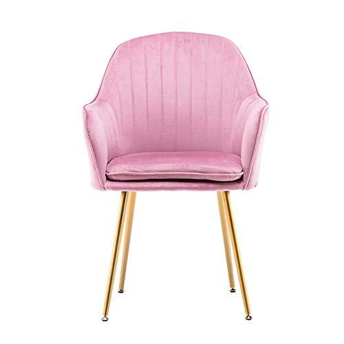 Chengzuoqing Schminkhocker Elegante Dinning Stuhl mittlere Rückenstütze Accent Sessel Moderne Freizeit Polsterstuhl mit Überzug Beine für Schminktisch oder Klavier (Farbe : Rosa, Größe : 45X45X85CM)