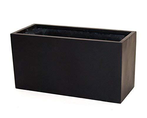 Pflanztrog Blumentrog Raumteiler Fiberglas rechteckig LxBxH 80x30x40cm elegant schwarz-matt