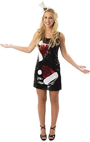 Damen Schwarz Pailletten Weihnachtsmütze Mini Kleid der Frauen Small/Medium (Santa-kleid Frauen Für)
