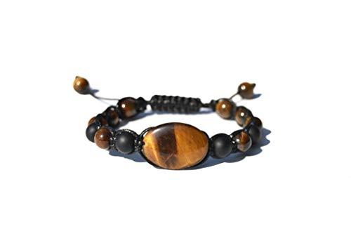 Bracelet oeil de tigre, Onix, homme femme, yoga idéal, 7 chakras, Reiki (oeil de tigre Onix)