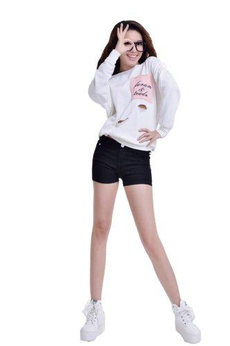 Zll OE Short court pour femme en jeans Skinny Noir - Noir