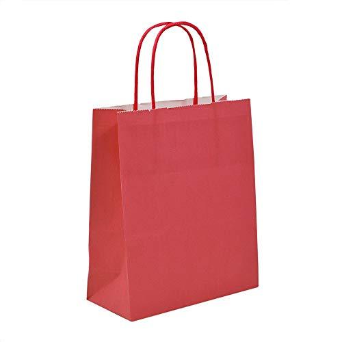 100x helle Rot Papiertragetaschen mit gedrehten Griffen, 32cm x 42cm x 12cm Unipack Marke-unibags