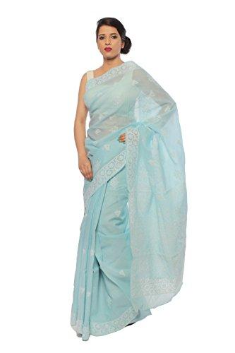 Bds Chikan Cotton Saree (Bds00158_Sky Blue)