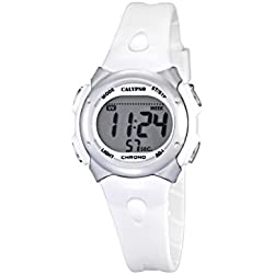 Calypso Girl's Digital Watch with LCD Dial Digital Display and White Plastic Strap K5609/1