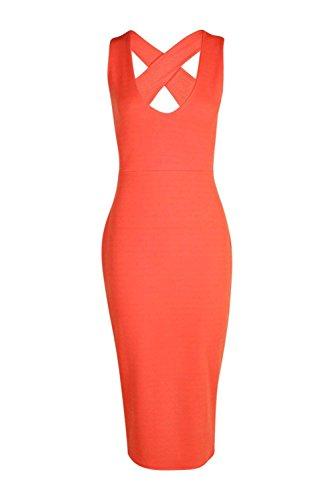 Orange Femmes Iris Cross Back Detail Plunge Midi Robe moulante Orange