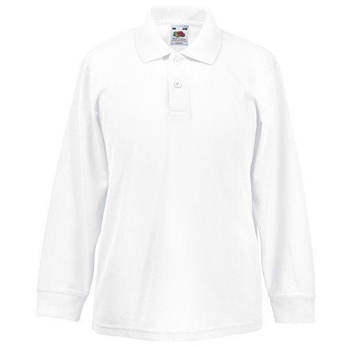 Fruit of the Loom Kids long sleeve 65/35 polo White