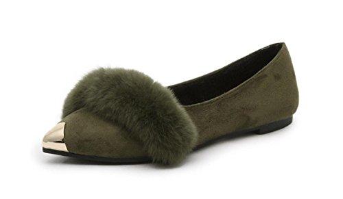 ZZHH Slippers Testa appuntita del metallo per scarpe Autunno/inverno e