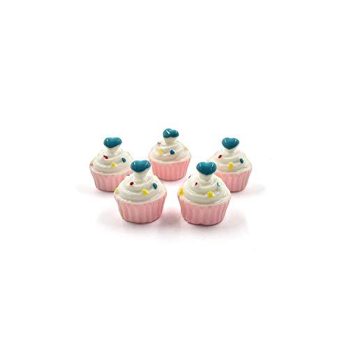 5Pcs Simulation Snack Dessert Kuchen Lebensmittel Miniatur Pretend Play Kitchen Toy Doll House DIY Geschenk Baby-Geschenk, Blue Love Cup Cake -