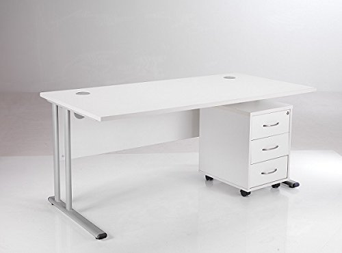 BiMi White Rectangular Desk with Storage Drawers with 3 Drawer Storage Pedestal - Desk Width 160cm - Sturdy Home Office Furniture - Computer Workstation with Lockable Office Storage