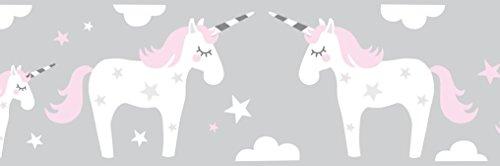 lovely label Frise murale adhésive enfant à motifs licornes, rose-gris - Frise chambre enfant fille de 450 x 11,5 cm - Décoration murale chambre bébé autocollante et non toxique, fabriqué en Allemagne