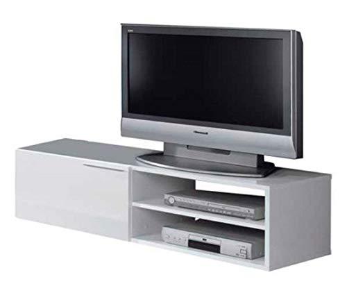 PEGANE Meuble TV Coloris Blanc Brillant avec Une Porte - Dim : 35 x 130 x 42 cm