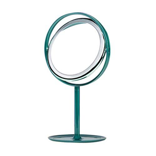 JXQ Miroir LED Miroir De Maquillage Lampe De Bureau Dortoir Bureau Comptoir Princesse Fille Coeur Miroir De Miroir Pliant Portable Grand, 3 Couleurs (Color : Green)