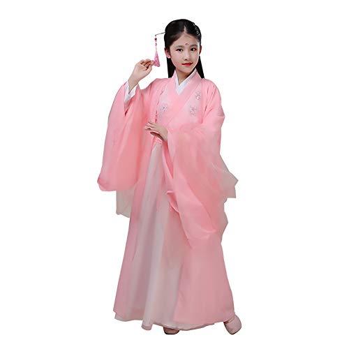 Mädchen Kostüm Hanfu, Chinesische Retro Hanfu Kinderbekleidung Max Kleid Party Foto Rollenspiele Tanzleistung Chiffon Stickerei Druck,Pink,XL