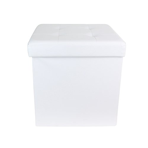 THE HOME DECO FACTORY Coffre Pouf Pliable PU Blanc M4 Polyuréthane, 37, 5x37,5 cm