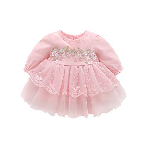 feiXIANG neugeborenen Kleid + Hut Set Baby Mädchen Prinzessin Dress Partei Spitze Tutu Rock Mädchen Taufkleidung Langarm ()