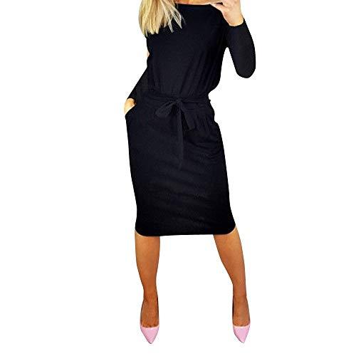 Briskorry Damen Kleid Elegant Maxi Festlich Langarm Kleid Partykleid Abend Party Minikleid Knielang Cocktailkleid A Linie Kleider