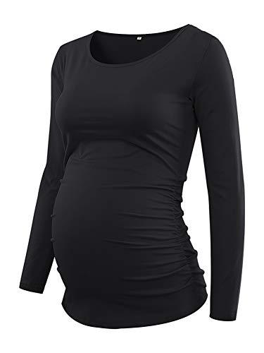 Love2Mi Damen Langarm Schwanger T-Shirt Umstandsshirt Umstandstop Schwangerschaft, 2#schwarz, M