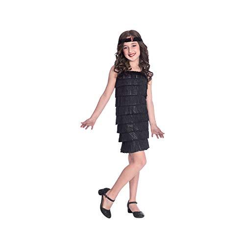 amscan Schwarzes Flapper Kostüm für Kinder mit Kleid und Kopfbedeckung für 8 bis 10 - Schwarzes Flapper Kostüm Kopfbedeckung