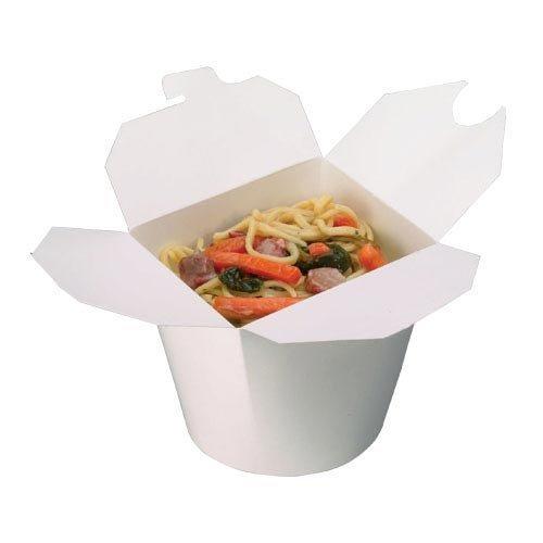 THALI Outlet Leeds® 500x Weiß 1.219rund Papier Nudeln Töpfe Container-Reis Essen Curry mitnehmen Blecheimer Boxen fettresistenten und Mikrowelle (10x 50Stück)-Versiegelter Box -