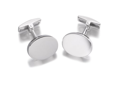 Hoxtons London Herren Sterling Silber Einfache Ovale Manschettenknöpfe