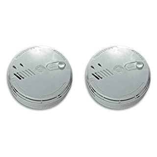 Set of 2 x Aico EI141RC Ionisation Smoke Alarms Mains / 9V Battery Back Up