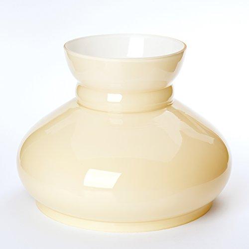 Beige Glasschirm (Vesta Schirm Petroleumlampe in vielen Größen Petroschirm Glasschirm Öllampe beige champagne Petroleum Glas (Durchmesser Unten 150mm))