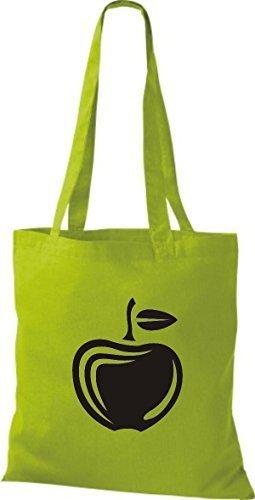 ShirtInStyle Stoffbeutel Baumwolltasche Dein Lieblings Obst und Gemüse Apfel Farbe Weinrot kiwi