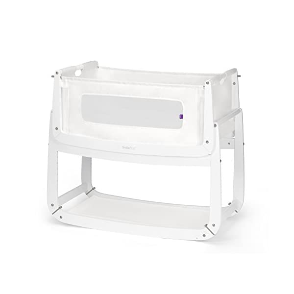 SnuzPod 3 Bedside Crib - White Snuz SnuzPod 3 has added functionality, a lighter bassinet and a more breathable sleeping environment. More than just a bedside crib; use as a bedside crib, stand alone crib or moses basket/bassinet. Simply attach the crib to your bed using straps provided (fits frame and divan beds) and your ready use as a bedside crib. The 9 different height settings allow you to ensure the crib is the right height for your bed (31-63cm) New! SnuzPod 3 now comes with an optional reflux function, by tilting the crib and setting an incline to reduce reflux symptoms little one can get a better nights sleep. 9