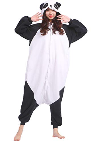 Jumpsuit Onesie Tier Karton Fasching Halloween Kostüm Sleepsuit Cosplay Overall Pyjama Schlafanzug Erwachsene Unisex Lounge Kigurumi Panda for Höhe 140-187CM