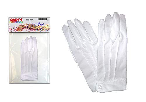 Chauffeur Weiße Kostüm - PARTY DISCOUNT ® KMU90017802 Handschuhe Herren aus Baumwolle, weiß mit Biesen