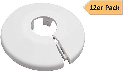 12er SET Kunststoff Heizkörperrosetten für 15mm Farbe weiß Rohrabdeckung Rohrschelle