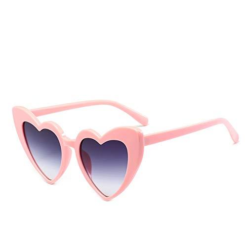 MJDABAOFA Herz Sonnenbrille Frauen Doppel Graue Katze Auge Sonnenbrille Retro Liebe Herz Geformten Gläser Damen Shopping Sonnenbrille Uv400