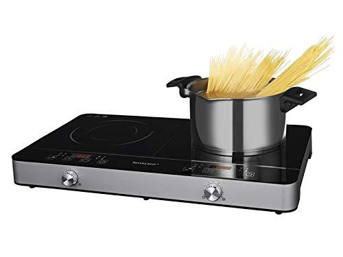 SILVERCREST Doppel-Induktionsplatte SDI 3500 B1 Für schnelles und energiesparendes Kochen/Integrierte Topferkennung - Warnton und Sicherheitsabschaltung