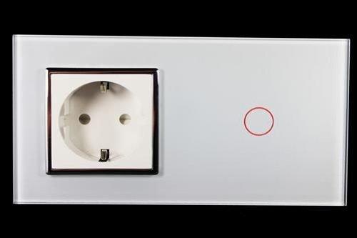 Preisvergleich Produktbild Kombination Design Glas Touch Lichtschalter 1 fach und Glas 1 fach Steckdose weiß