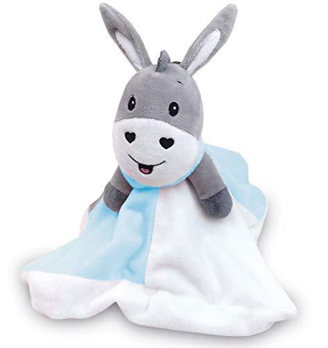 Happy Peop Baby Schnuffeltuch Trösterchen Fingerpuppe Esel mit Rassel (Blau)