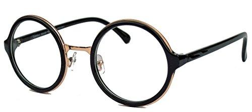 Runde Pantobrille im Vintage Stil Retro Nerd Brille Hornbrille dicker Rahmen LP41 (Schwarz)